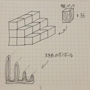 牛乳パック本棚設計図